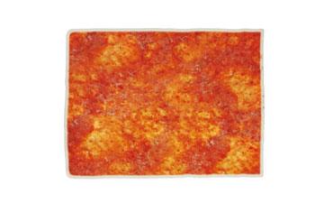 Bases surgelées rectangulaire  pour pizzas avec tomate